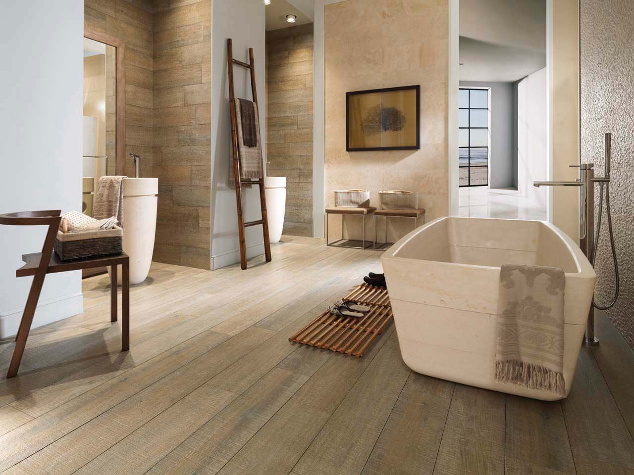 Pavimento effetto legno in gres porcellanato for Carrelage salle de bains porcelanosa